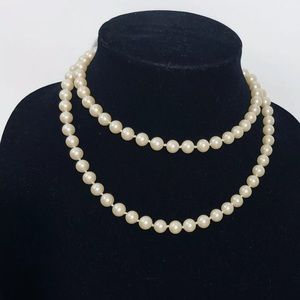 "Vintage Faux Pearl Necklace 34"" Single or Double"